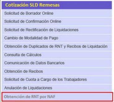 Obtención de RNT por NAF