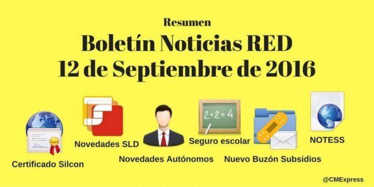 Resumen Boletín Noticias RED 12 de Septiembre de 2016