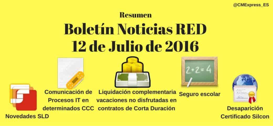 Resumen Boletín Noticias RED 12 de Julio 2016