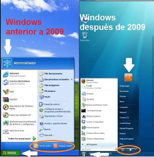 Windows interfaz xp y 7