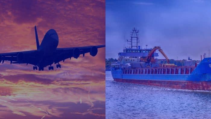 transporte aéreo vs transporte marítimo