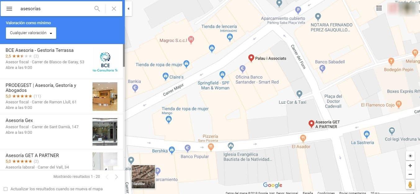 asesoría barcelona google maps